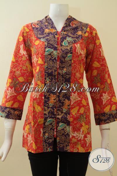 Blus Batik Remaja Putri Warna Orange Kombinasi Ungu, Cantik, Seksi, Feminin Dan Stylish [BLS2818P-S]