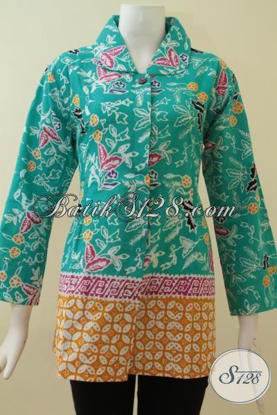 Batik Wanita Warna Hijau Tosca Blus Batik Kerja Wanita Aktif