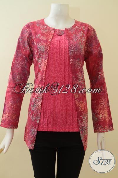 Baju BAtik Kombinasi EmbossBlus Batik Wanita Kerja Model Masa
