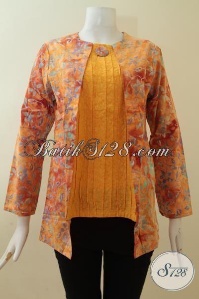 Toko Online Batik Aneka Batik Wanita Harga Murah,Blus Batik Warna Kuning Cerah [BLS2848CS-S]