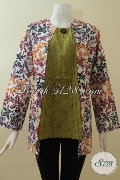 Kombinasi Batik Dan katun Emboss Untuk Wanita Gemuk Ukuran 3L [BLS2852CD-XXL]