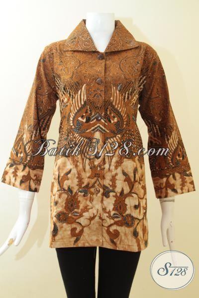 Batik Blus Klasik Model Formal, Baju Kerja Batik Full Furing Cewek Kantoran, Batik Kombinasi Tulis Terbaru 2015, Size M