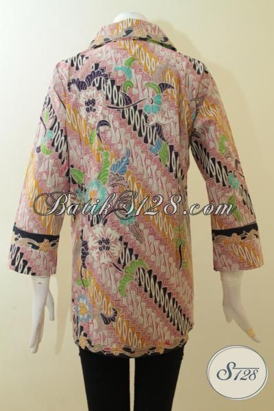 Batik Blus Dua Motif Trend 2015, Pakaian Batik Wanita Full Furing Lengan Tiga Perempat Proses Tulis, Size M