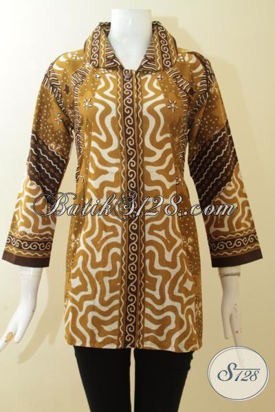 Blus Batik Masa Kini Motif Klasik, Baju Kerja Batik Dasain Formal, Busana Batik Lengan Tujuh Perdelapan Busatan Solo, Sizew M – XL