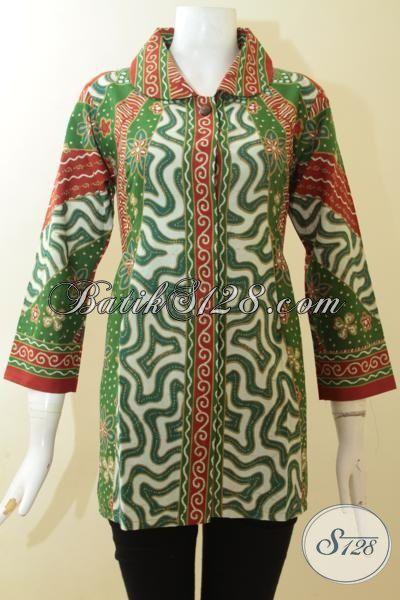 Blus Batik Motif Paling Bagus Saat Ini, Pakaian Batik Motif Warna Hijau, Batik Desain Wanita Tampil Terbaru Trend 2015 [BLS2953P-M]