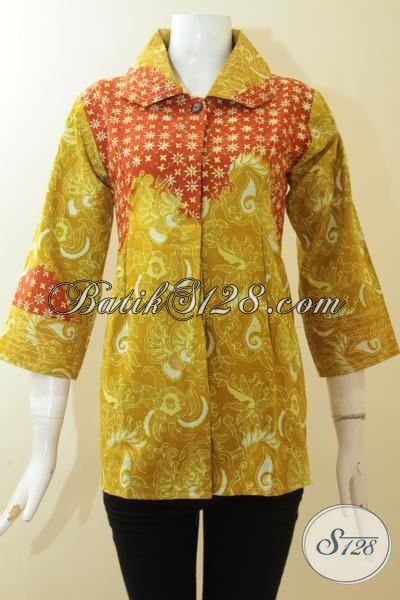 Busana Batik Modern Warna Kuning Kombinasi Orange, Baju Batik Trendy Desain Mewah, Pakaian Batik Cap Tulis Halus Dan Adem [BLS2959CT-S]