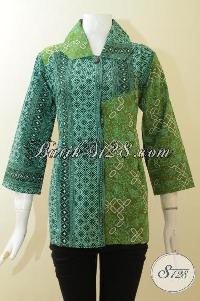 Batik Cap Tulis Dual Motif, Blus Batik Kombinasi Warna Hijau Tua Dan Muda, Batik Klasik Tampil Anggun Dan Modis [BLS2962CT-M]