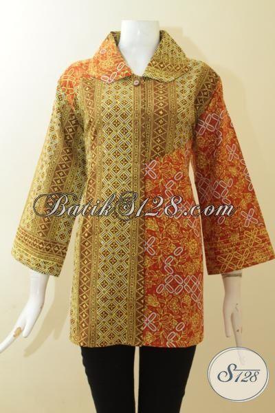 Blus Batik Wanita Karir, Baju Kerja Terbaru Dengan DEsain Mewah, Batik Cap Tulis Masa Kini Yang Lebih Trendy Dan Mewah, Size XL