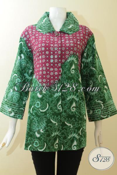 Baju Batik Kombinasi Hijau Dan Merah Jambu, Batik Cap Tulis Dua Motif Tampil Elegan, Batik Trendy Kwalitas Premium Cewek Gemuk Cantik Maksimal, Size XXL