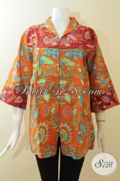 Agen Batik Wanita Online Referensi Fashion Wanita Karir, Jual Blus Batik Printing Halus Warna Orange Desain Mewah Size XL