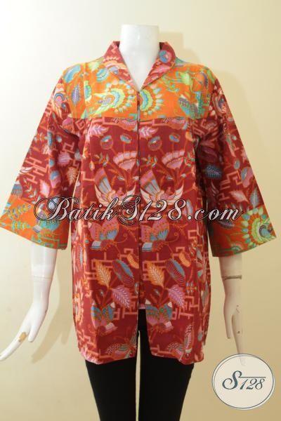 Desain Batik Blus Istimewa Warna Merah, Baju Batik Perempuan Dewasa Yang Lebih Elegan Styulist Proses Printing, Size XL – XXL