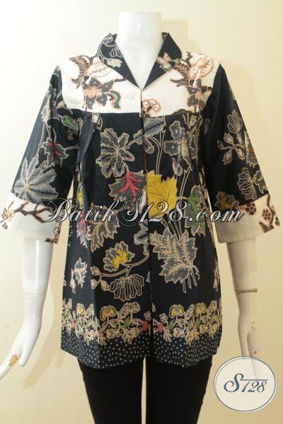 Batik Blus Kombinasi Tulis Elegan Desain Menawan, Baju Seragam Kerja Perempuan Karir Tampil Mempesona, Size M