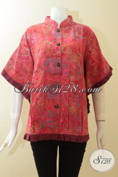 Trend Pakaian Batik Wanita Model Kipas, Baju Batik Santai Warna Merah Motif Unik, Blus Batik Cewek Tampil Trendy Dan Modis [BLS2979CS-XL]