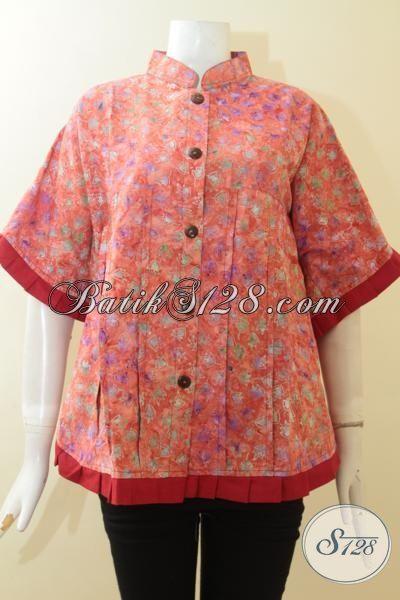 Baju Batik Lengan Pendek Model Kipas Warna Orange, Pakaian Batik Modern Pinggiran Merah Desain Paling Trendy Saat Ini [BLS2982CS-M]