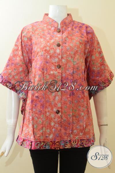 Baju Santai Bahan Batik Halus, Batik Keren Proses Cap Smoke Desain Berkelas Tampil Lebih Keren Dan Feminim, Size M – XL