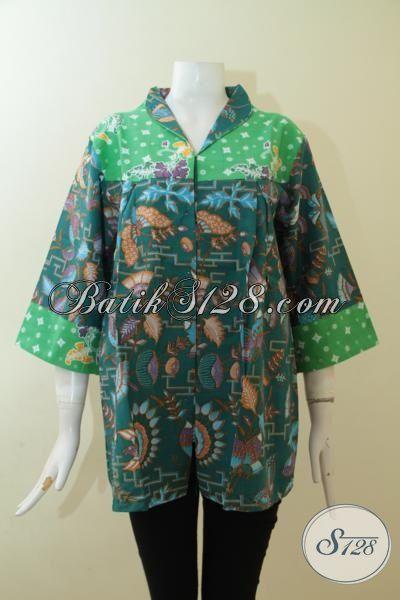 Batik Blus Warna Hijau Proses Print, Pakaian Batik Dua Motif Model Berkelas, Size XL
