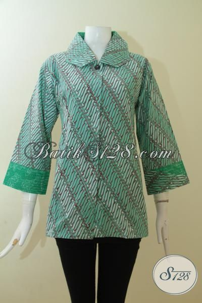 Batik Blus Hijau UKuran L, Busana Batik Wanita Dewasa Model Dua Motif Trend Masa Kini, Cewek Terlihat Anggun
