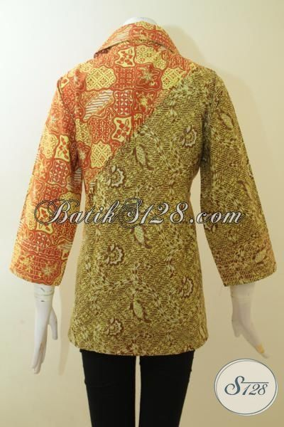 Trend Terbaru Baju Blus Batik Dua Motif, Batik Wanita Dua Warna Lebih Trendy Dan Fashionable Proses Cap Tulis Asli Solo, Size L