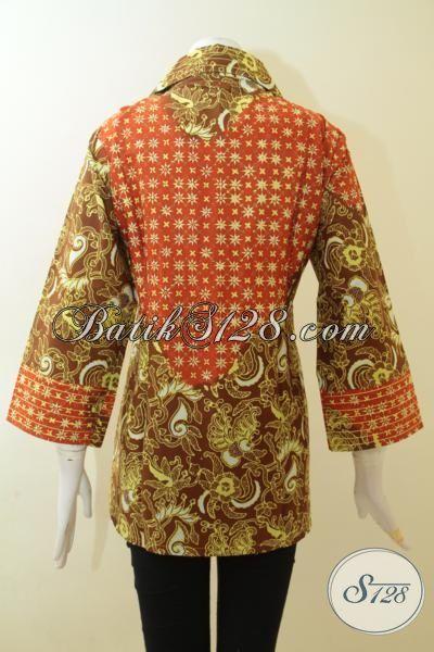 Baju Batik Perempuan Dewasa Kombinasi Motif Klasik Dan Modern, Pakaian Batik Dua Warna Trend 2015 Mambuta Wanita Lebih Elegan Dan Berkharisma [BLS3011CT-XL]