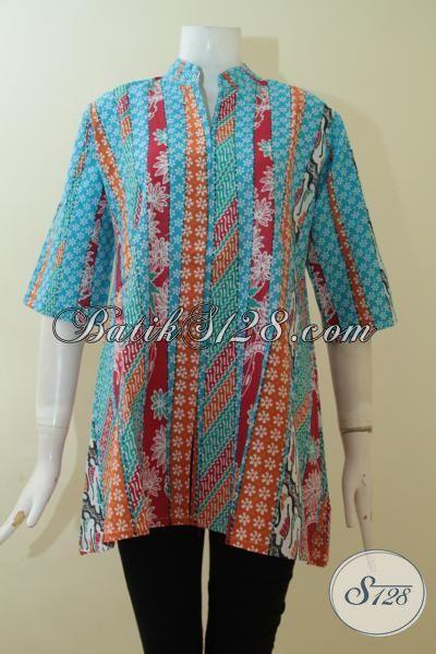 Batik Blus Desain Mewah Dengan Kombinasi Aneka Warna, Baju Batik Masa Kini Perempuan Lebih Cantik Dan Mempesona, Size M