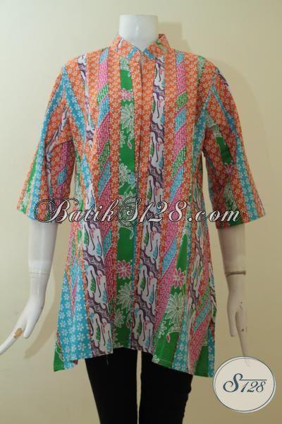 Butik Online Jual Baju Blus Batik Printing Model Terbaru, Berbahan Halus Yang Nyaman Di Pakai Setiap Hari, Size L
