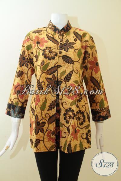 Jual Online Baju Batik Printing Warna Klasik, Batik Solo Motif Bunga-Bunga Halus Pas Untuk Ke Kantor [BLS3021P-M]