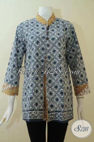 Baju Blus Batik Desain Formal Yang Mewah Dan Elegan, Batik Cap Produk Solo Motif Klasik Pas Buat Seragam Kerja, Size M