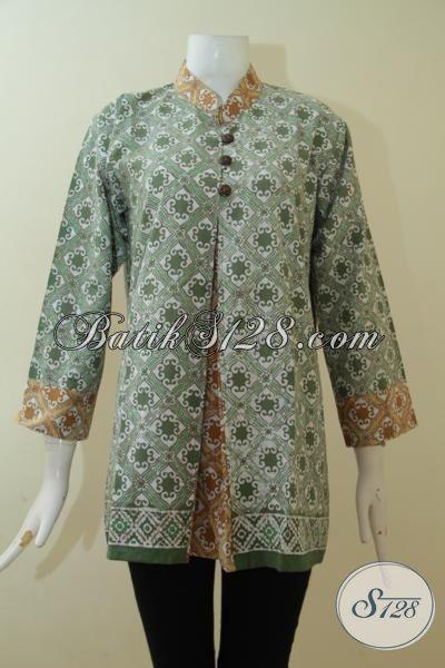Baju Batik Warna Hijau Lembut Kombinasi Cream 8998b4859f