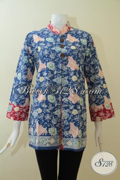 Baju Batik Blus Desain Istimewa Buatan Solo, Pakaian Batik Trendy Proses Cap Membuat Wanita Lebih Bergaya [BLS3035C-L]