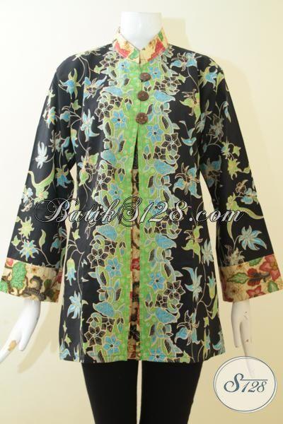 Butik Batik Online Koleksi Terlengkap, Baju Batik Modern Desain Mewah Wanita Tampil Wah, Batik Printing Halus Asli Produk Solo [BLS3039P-XL]