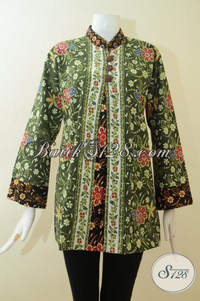 Blus Batik Hijau Kombinasi Hitam, Pakaian Batik Cap Tulis Model Berkelas Motif Bunga Cocok Untuk Wanita Pekerja Kantoran, Size XL
