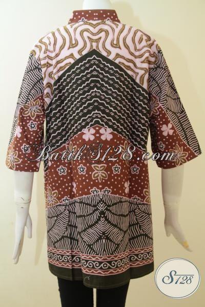 Baju Batik Wanita Dewasa, Blus Batik Solo Motif Klasik Yang Paling Banyak Di Cari Perempuan Karir Untuk Baju Kerja, Batik Print Halus Harga Murmer [BLS3049P-XL]