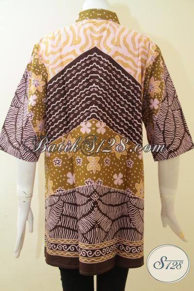 Tempat Belanja Busana Batik Online Terpercaya, Sedia Blus Batik Klasik Printing Buatan Solo Model Bagus Harga 100 Ribuan, Size XL