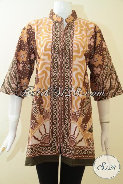 Blus Batik Lengan Tiga Perempat Bahan Halus Motif Klasik, Pakaian Batik Berkelas Mewah Harga Murah, Size XL