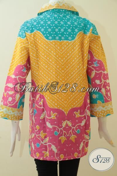Pakaian Batik Trendy Desain Mewah 2015, Blus Batik Murmer Berbahan Halus Dengan Motif Terkini, Baju Batik Kerja Dan Pesta Membuat Wanita Semakin Stylist [BLS3061-XL , XXL]