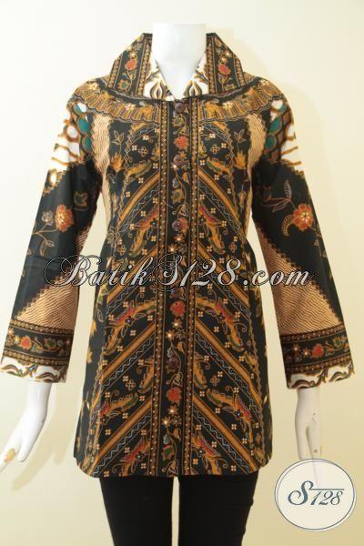 Blus Batik Buatan Pengerajin Solo, Baju Batik Print Kwalitas Istimewa, Busana Batik Motif Klasik Cocok Untuk Baju Kerja Kantoran [BLS3066P-L]