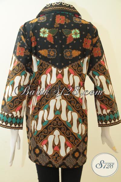 Pakaian Batik Model Blus Motif Klasik, Baju Batik Lengan Tujuh Perdelapan, Busana Batik Seragam Kerja Modern Tampil Formal Dan Elegan [BLS3067P-XL]