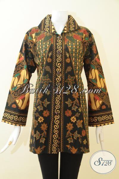 Sedia Online Pakaian Batik Klasik Ukuran Jumbo, Baju Blus Batik Motif Klasik Proses Printing Kwalitas Halus Hadir Dengan Desain Mewah Berkelas Pas Buat Kerja Cewek Gemuk [BLS3068P-XXL]