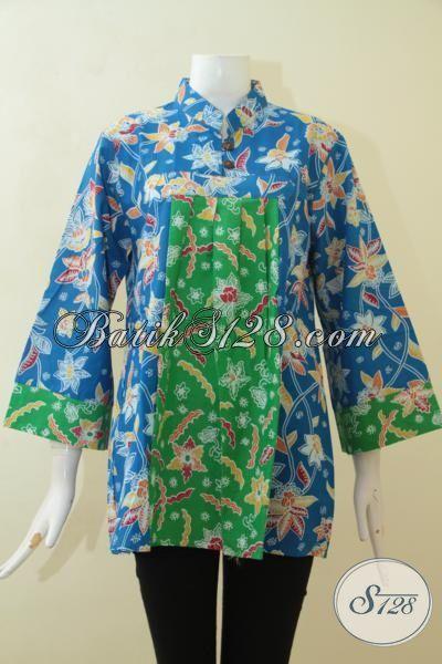 Busana Batik Wanita Muda, Baju Kerja Batik Perempuan Dewasa, Batik Blus Printing Model 2015 Paling Trendy Harga Murmer [BLS3074P-L]