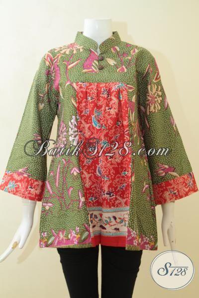 Blus Batik Kerja Keren, Busana Batik Wanita Karir, Batik Print Motif Unik Desain Istimewa [BLS3075P-L]