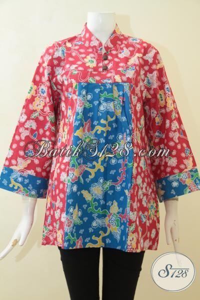 Pakaian Batik Halus Buatan Solo, Baju Blus Batik Print Motif Terkini, Batik Dual Motif, Batik Keren Merah Kombinasi Biru [BLS3077P-L]