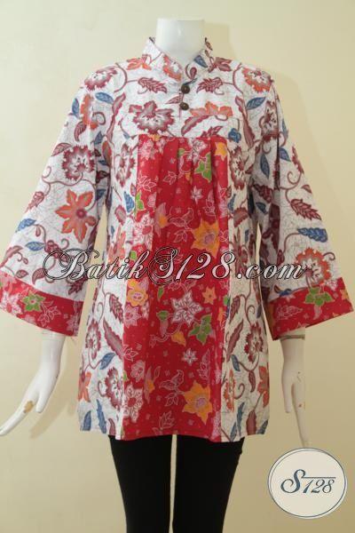 Baju Batik Trendy Wanita, Blus Batik Idaman Cewek Karir, Batik Blus Berkelas Harga Murmer [BLS3081P-XL]