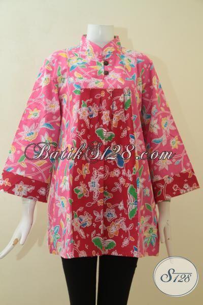 TampilKeren Dan Modis Dengan Blus Batik Terbaru, Baju Batik Print Solo Halus Desain Berkelas [BLS3085P-XL]