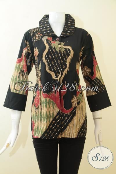 Jual Blus Batik Hitam Motif Modern, Pakaian Batik Elegan Proses Tulis, Batik Jawa Buatan Solo Asli [BLS3087T-M]