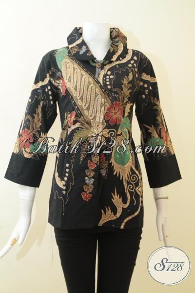 Batik Blus Berkelas Proses Tulis, Pakaian Batik Motif Modern Warna Hitam, Busana Batik Kerja Desain Istimewa 2015 [BLS3088T-M]