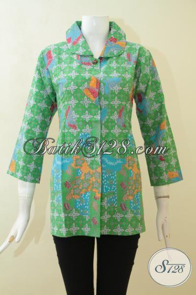 Pakaian Blus Batik Warna Hijau, Baju Batik Desain Kerah Lebar Motif Unik, Batik Printing Istimewa Produk Solo [BLS3089P-M]