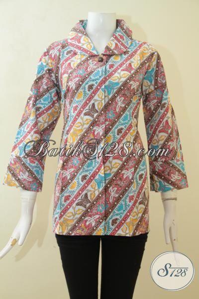 Blus Batik Parang Kupu, Busana Batik Solo Proses Print Desain Formal Elegan Untuk Tampil Semakin Mempesona, Size L