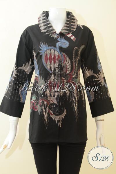Blus Pakaian Batik Tulis Elegan Warna Hitam, Baju Batik Model Terkini Pas Buat Perempuan Karir Kantoran, Size L