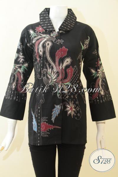 Batik Blus Elegan Warna Hitam, Baju Batik Wanita Motif Modern, Busana Batik Tulis Halus Desain Mewah Bisa Untuk Kerja Dan Pesta [BLS3101T-L]