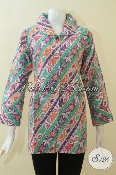 Jual Online Pakaian Batik Wanita Motif Terkini, Batik Blus Parang Deseain Modern Dan Mewah, Batik Printing Keren Dan Halus Yang Fashionable [BLS3102P-XL]